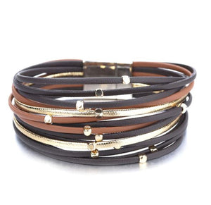 Leather Bracelet, Multi-layer With black, brown & gold