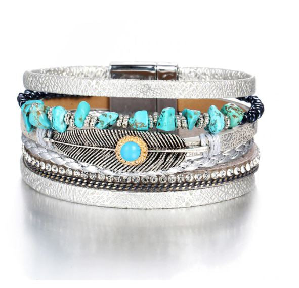 Silver Leather Bracelet, Multi-layer With Charms