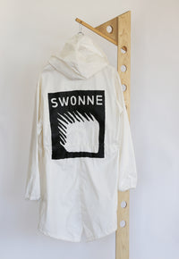 White fishtail parka, hand painted, limited edition, one of a kind, painted in Brooklyn, Swonne logo, reimaged deadstock
