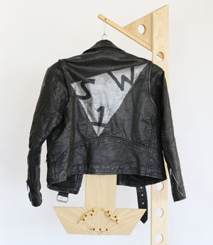 black leather moto-cycle jacket, vintage, hand painted, one of a kind, painted in Brooklyn