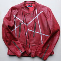 leather jacket, red, leather, unisex, hand painted