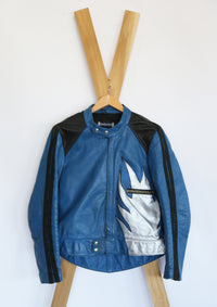 vintage blue leather moto, black panels ad racing stripes. hand painted with silver and gold, leather