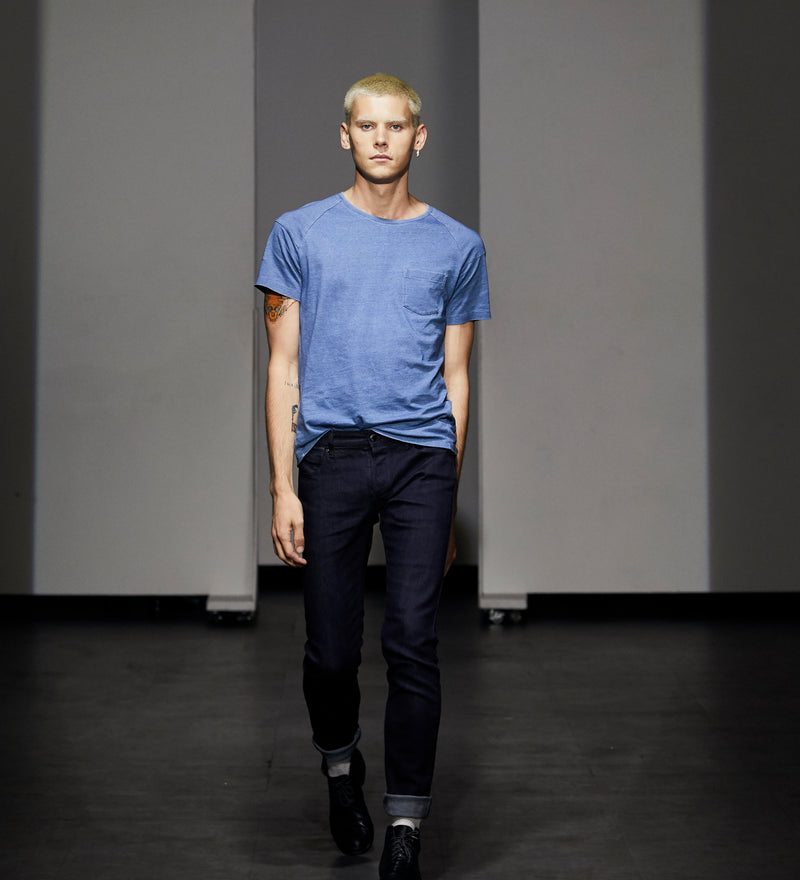 indigo tee on runway model. 100% cotton