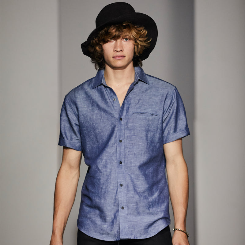Indigo Linen Chambray Shirt Short Sleeve- USA Made