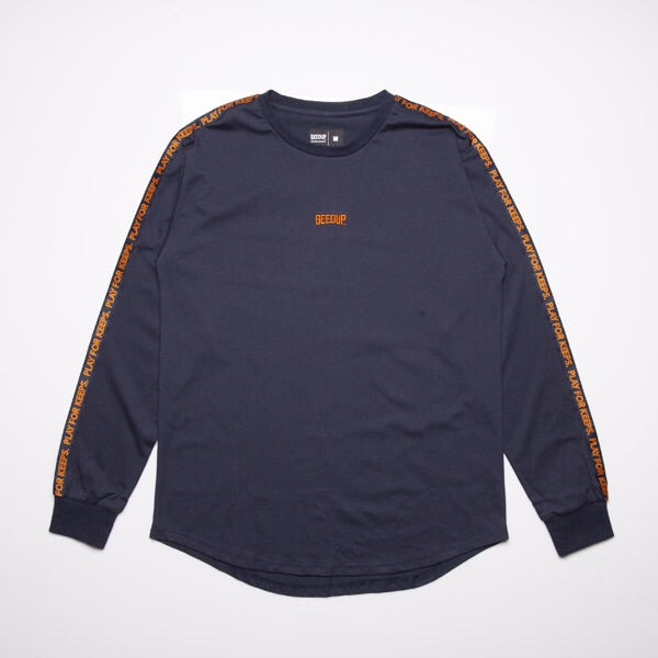 PLAY FOR KEEPS L/S TAPE TEE - Navy/Orange