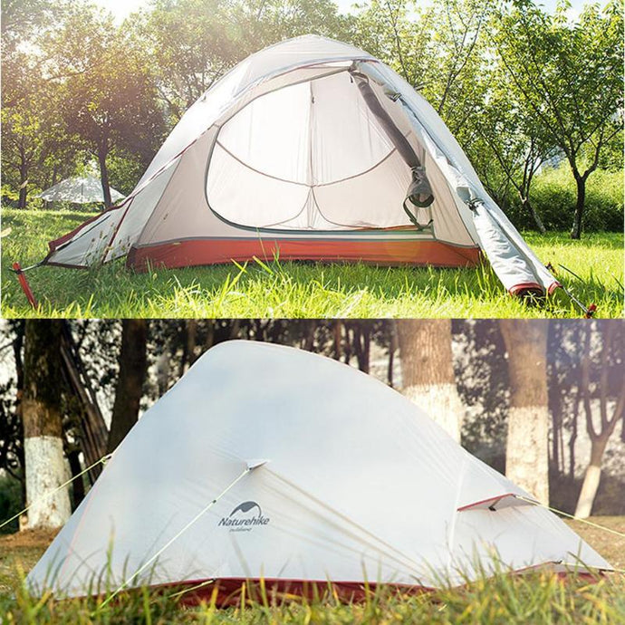 Naturehike Outdoor Camping Travel Tent Three Seasons Double Layer Sleeping Tents for 2-person Silicone Coating Waterproof Hiking
