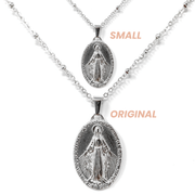 Silver Dainty Virgin Mary Necklace (Small)