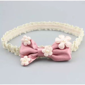 Bow with little flowers on headband