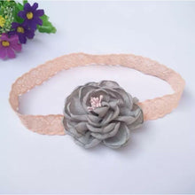 Load image into Gallery viewer, Flower Hairband Grey with pink