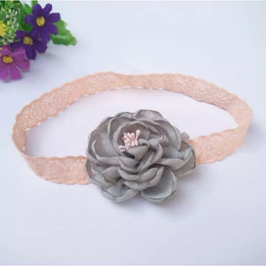 Flower Hairband Grey with pink