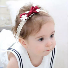 Load image into Gallery viewer, Red Bow with white flowers on headband