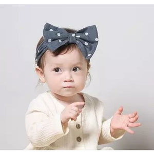 Hair Bow Dotty Navy