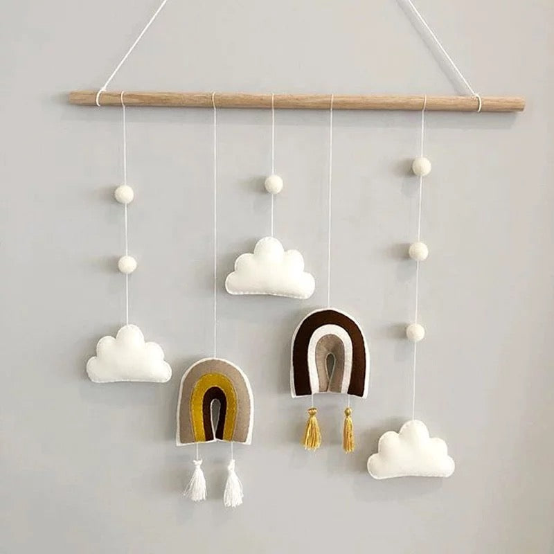 Nordic Style Wooden and Felt Rainbow Mobile