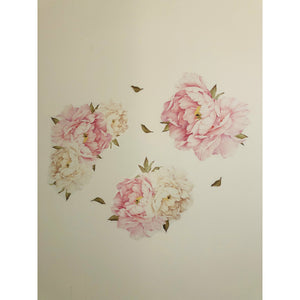 Peony & Rose White and Dusty Pink Wall Decal