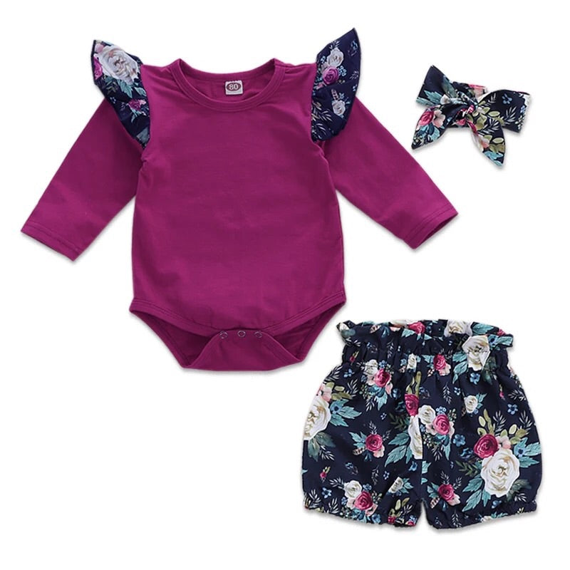 Toddler Ruffle Shirt with floral pants and headband