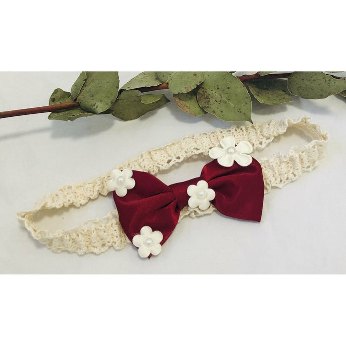 Red Bow with white flowers on headband