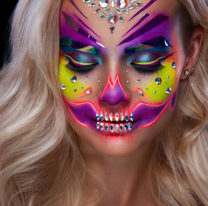 Special offer price for Halloween 2020 -  Face & Body Painting Kit for Kids & Adults - 12 extra-large cosmetic grade colors inc 4 UV neons