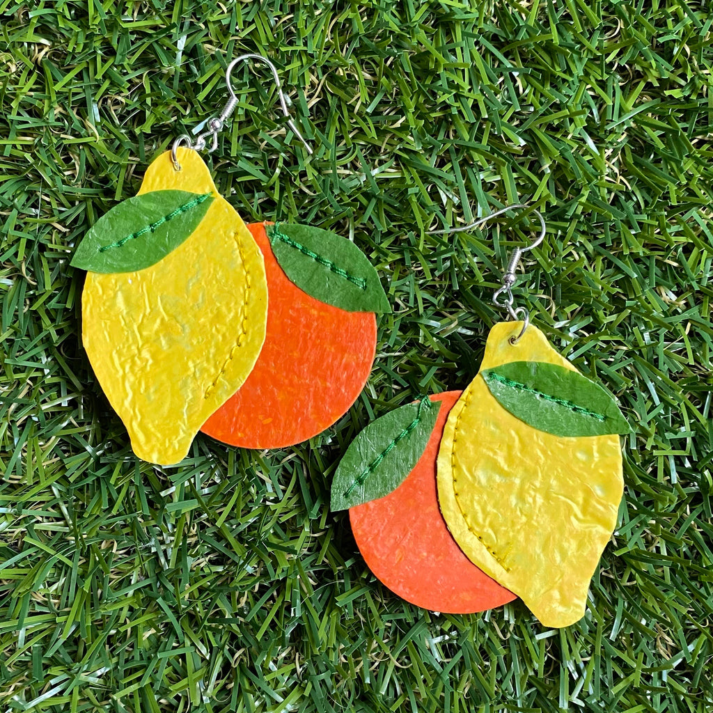 Lemon and orange earrings