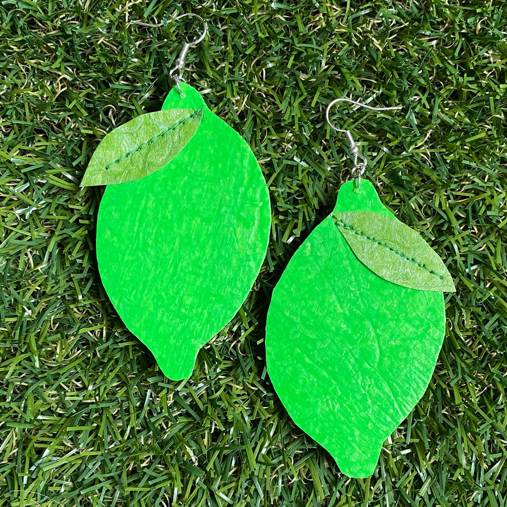 Lime earrings made out of recycled single use plastic carrier bags by Lorelai