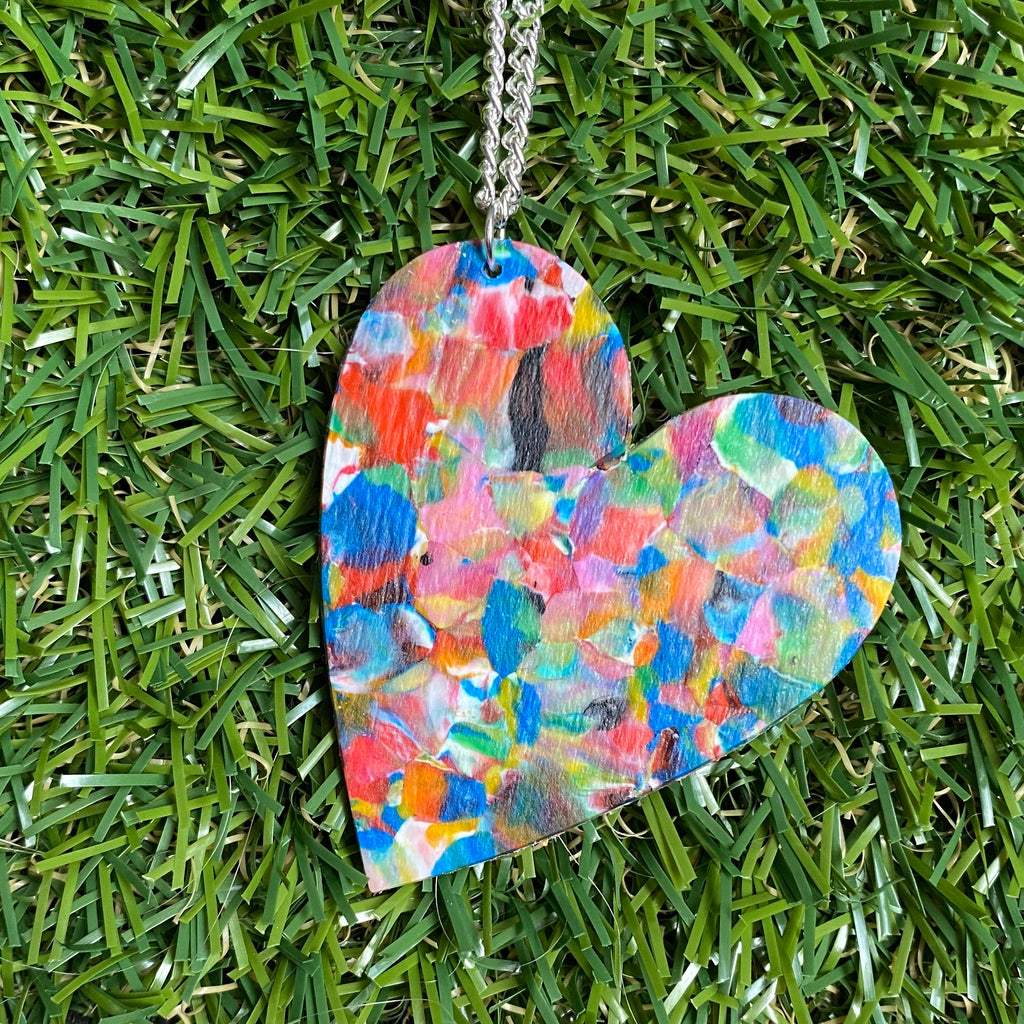 Rainbow speckle large heart pendant