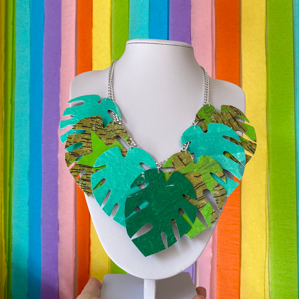 Monstera leaf statement necklace made from recycled single use carrier bags by Lorelai