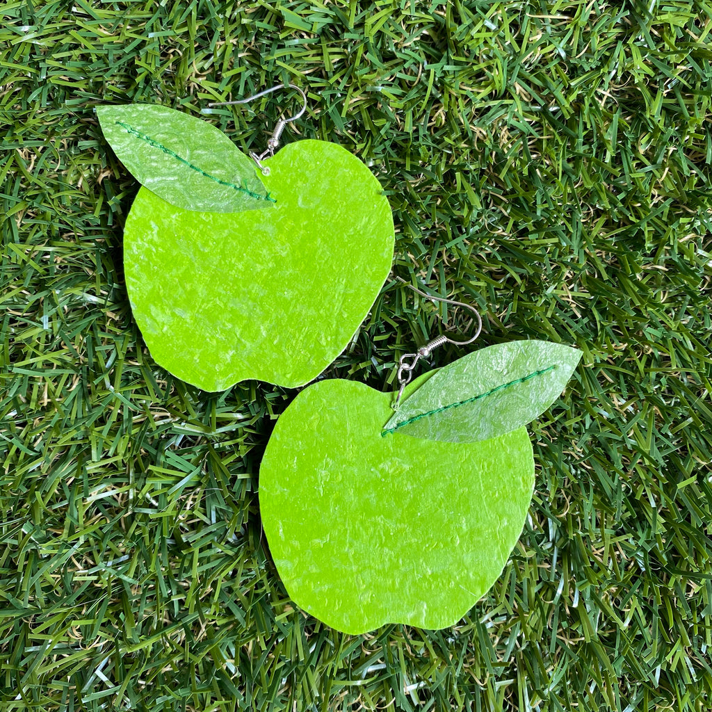 Green apple earrings made out of recycled plastic carrier bags by Lorelai