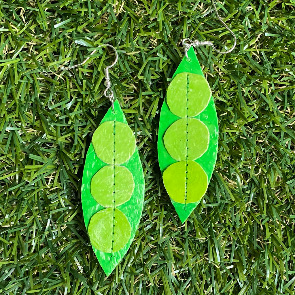 Peas in a pod earrings made from recycled single use plastic carrier bags by Lorelai