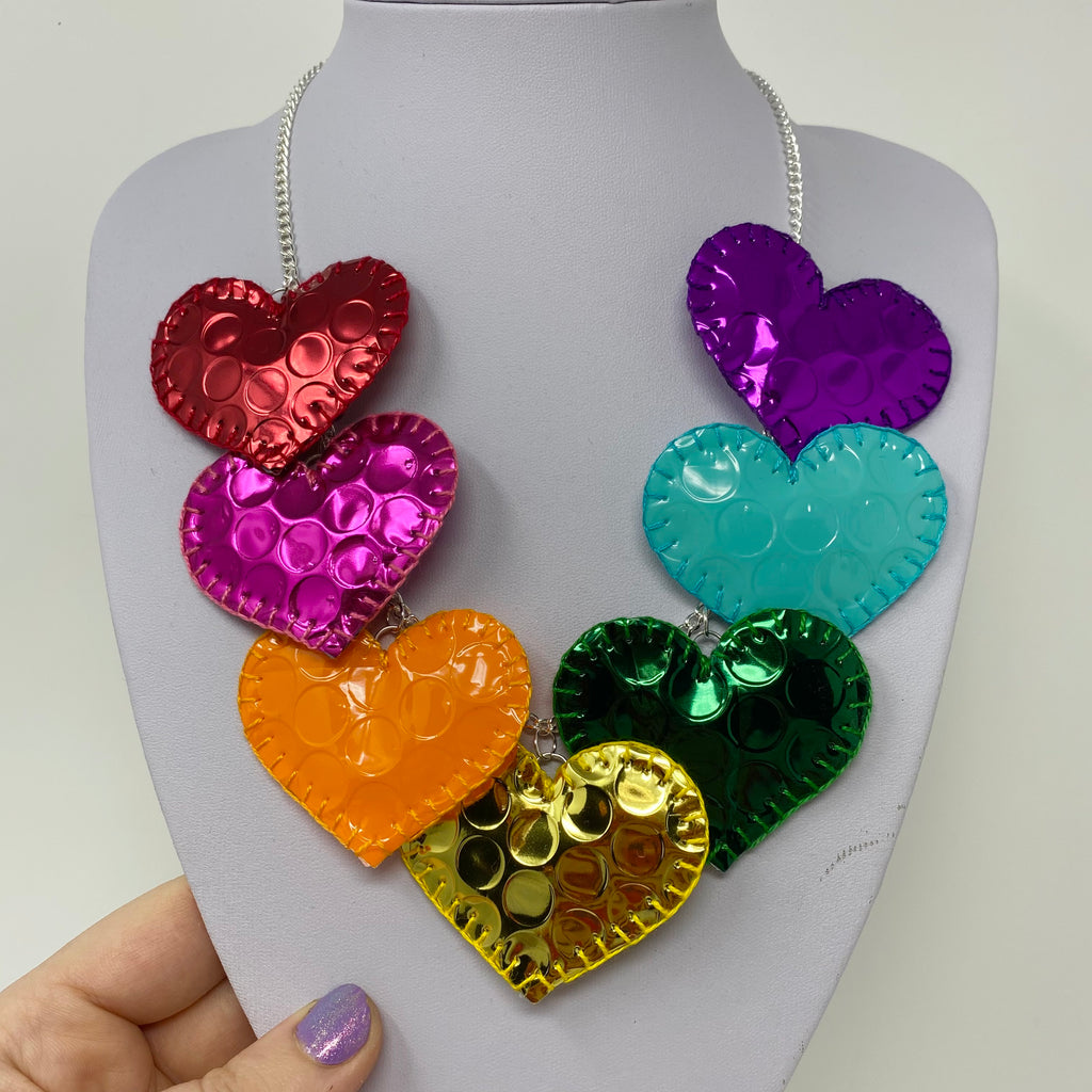 Holographic heart statement necklace