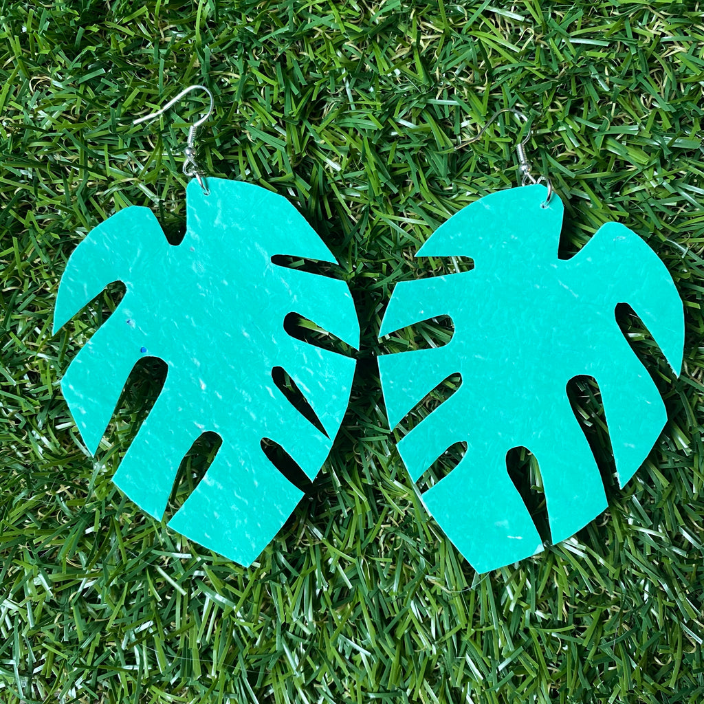 Monstera leaf earrings - cheese plant leaf earrings