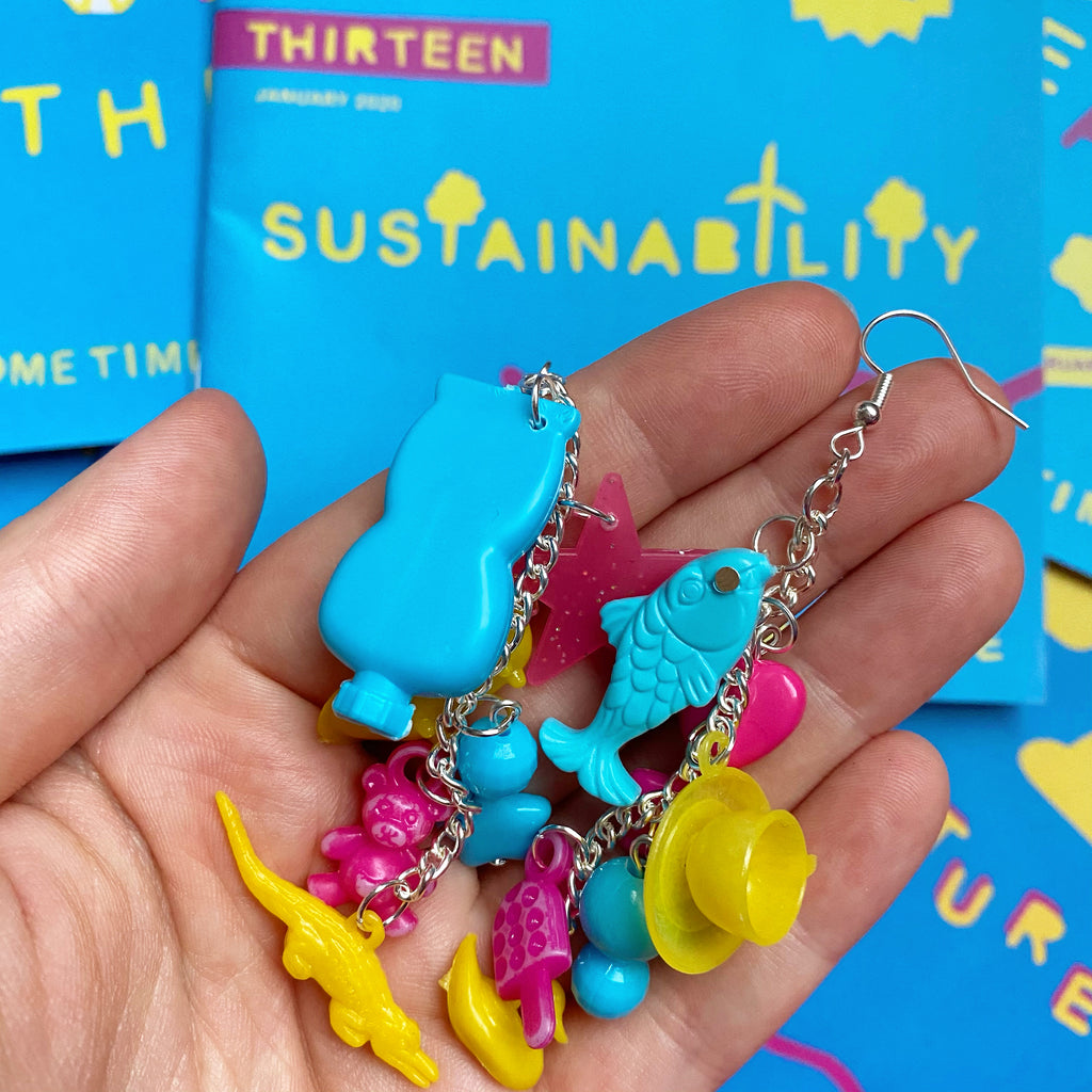Rainbow charm chain dangle earrings made from plastic toys
