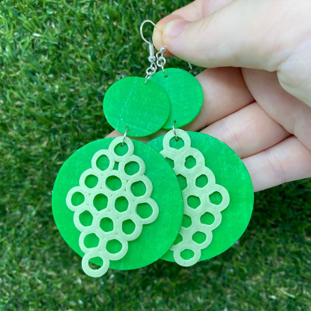 Honeycomb pattern statement circle earrings