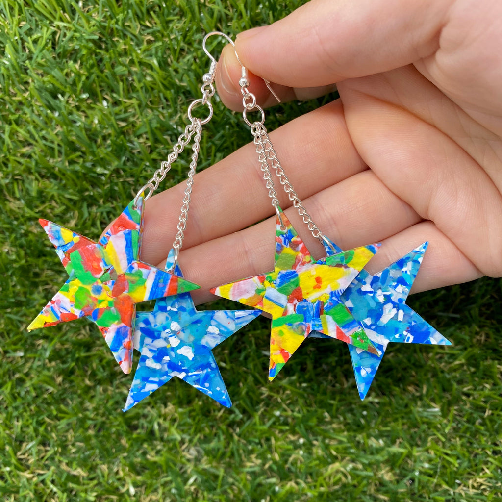 Dangly star duo earrings