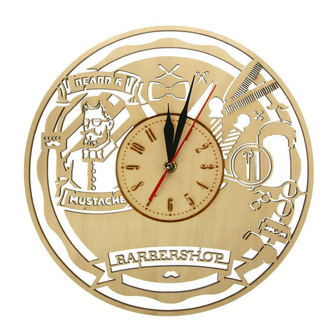 Horloge Barber Shop en Bois