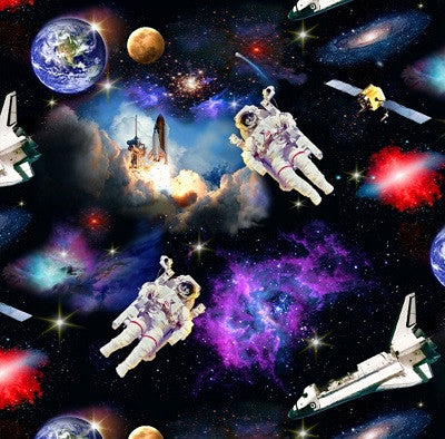 In Space Astronauts Fabric for Children