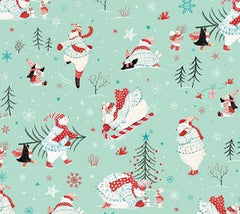 Polar Bear Pirouette Christmas Fabric