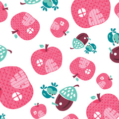 Fairyville Apple Houses White Cotton Fabric