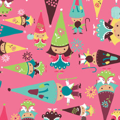 Fairyville Pink Cotton Fabric Gnomes Remnant