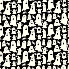 Halloween Fabric Ghosts Glow in the Dark Cotton