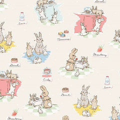 Bunnies and Cream Fabric Cream