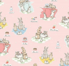 Bunnies and Cream Fabric Pink