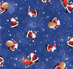 Christmas Village Fabric - Santas