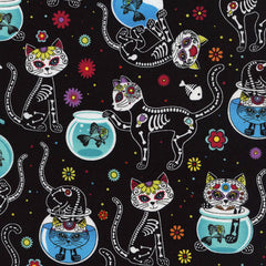 Halloween Fabric Day of the Dead Kitty