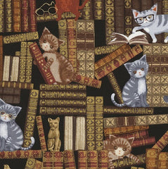Cats in the Library Fabric Remnant