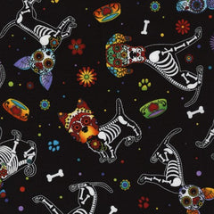 Halloween Fabric Day of the Dead Pups