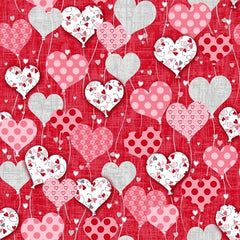 Dear Heart Cotton Fabric Red