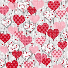 Dear Heart Cotton Fabric White