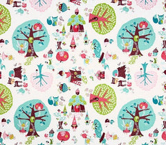 Fairyville Fairy Town White Cotton Fabric Remnant