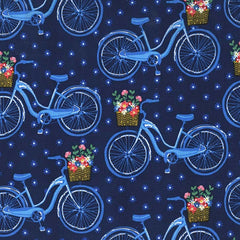Farmers Market Bicycles Navy Fabric