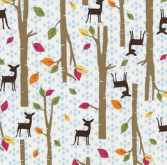 Woodland Scenes Cream Cotton Fabric Remnant
