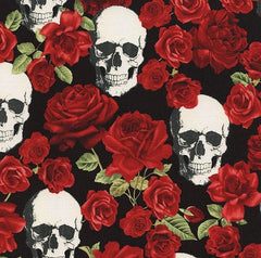 Halloween Fabric Skulls and Roses